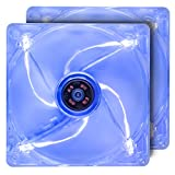 120mm Case Fan with Blue LED 2-Pack Computer Case Fan with Long Life Sleeve Bearing Ultra Quiet Silent Cooling Fan Standard 120 mm LED Case Fan with Blue Light & Transparent Frame. ROCF-13002