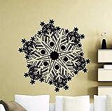 Pegatinas de pared con estilo de copo de nieve congelado año de invierno Navidad vinilo calcomanía decoración interior del hogar Mural familiar 56 x 56 cm