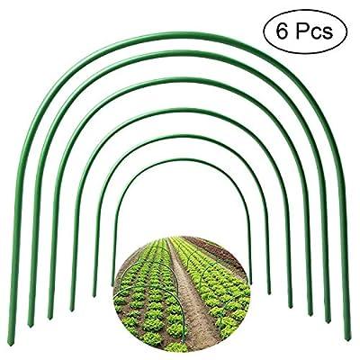 "F.O.T 6Pcs(25.6"" x 23.6"")Greenhouse Hoops,PlantSupportGardenStakes, Rust-Free GrowTunnel 4.9ft LongSteelwithPlasticCoatedSupportHoopsFrameforGardenFabric, PlantSupportGardenStakes"