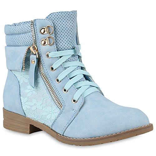 stiefelparadies Damen Stiefeletten Schnürstiefeletten Leder-Optik Schuhe Spitzenstoff Boots Zipper Schnürboots 144303 Hellblau 35 Flandell