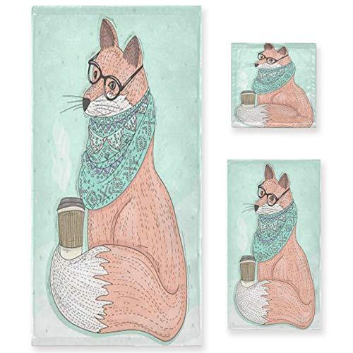 Naanle Juego de 3 toallas de baño Smart Animal Fox para baño de algodón altamente absorbente, toalla de baño grande+toalla de mano+toalla, paquete de 3 toallas de suavidad para decoración