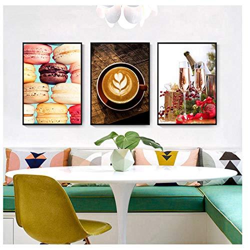 kaxiou canvasdruk Macarons koffiedecoratie voor thuis champagne wall art picture aquarel ristorante modulaire voeding poster 40X60Cmx3 stuks zonder lijst