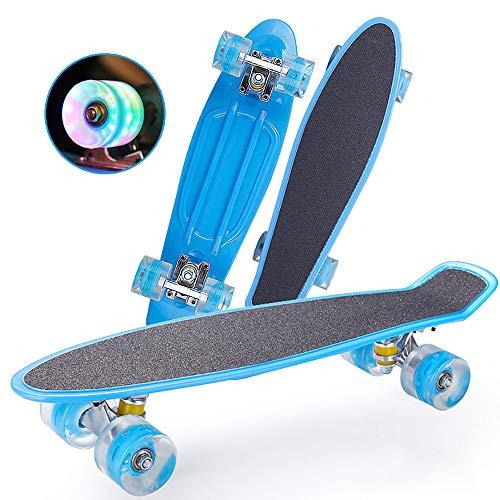 FGKING Flash-Rad Skateboard, Complete Skateboard, LED-Skateboard, Radically Intensive Beschleunigung Waveboard Anti Slip Concave für Erwachsene Kinder im Alter von 8 und Up,A