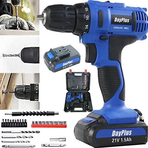 Hammer Drill Cordless Drill Driver 21V Combi Drill Screwdriver 1500mAh Lithium-Ion Battery with Fast Charger, Magnet Hammer Drill Driver, 18+1 Torque Setting Impact Screw Driver, Portable w/Carry Case