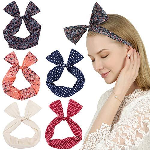 Sea Team Twist Bow verdrahtete Stirnbänder Schal wickeln Haar-Accessoire-Haarband (5pcs-B)