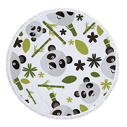 WSKMHK Ronda de Microfibra Toalla de Playa,cómic Panda Animal Planta patrón de bambú con Flecos de Tela Impresas Gran,Estilo Bohemio Mandala Indio cojín Piscina Toalla Estera del Yoga psicodélico h