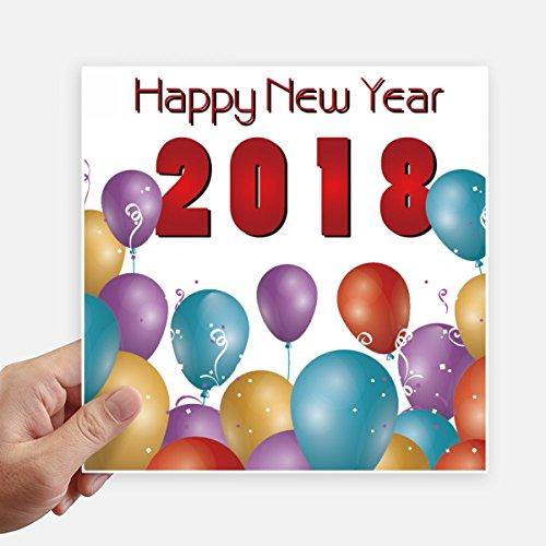 DIYthinker 2018 Ballon Jaar Van De Hond Gelukkig Nieuwjaar Vierkante Stickers 20Cm Wandkoffer Laptop Motobike Decal 4 Stks
