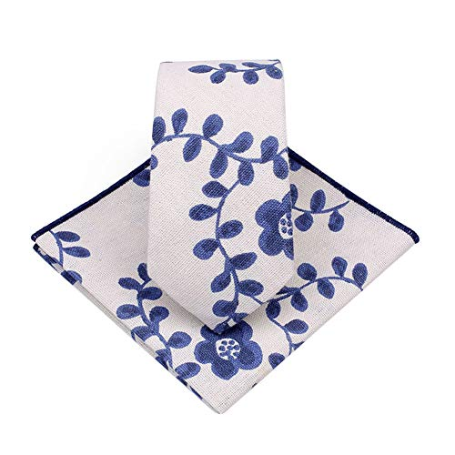 JUNGEN Corbata Informal para Hombres Juego de Corbata y pañuelo Corbata Estampada de Planta Corbata Estrecha Corbata de algodón y Lino Accesorios de Ropa para Hombres
