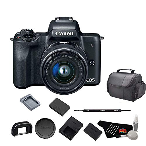 Canon EOS M50 Mirrorless Digital Camera with 15-45mm Lens and 4K Video 2680C011 Bundle with Spare Battery and Travel Charger- International Model