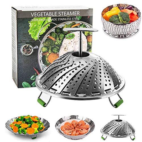 Cesta para verduras al vapor,Cesta de Vapor Acero Inoxidable,Cesta Vaporera Plegable de...