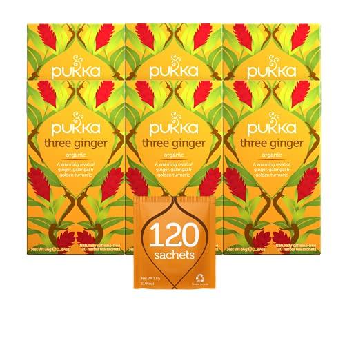 Pukka Herbs Three Ginger, Organic Herbal Tea With Galangal & Turmeric (6 Pack, 120 Tea Bags)
