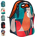 ARTOVIDA Artists Collective Insulated Neoprene Lunch Bag, 'Flock of Birds' by Budi Kwan (Indonesia) | Washable Soft Lunch Tote for School and Work