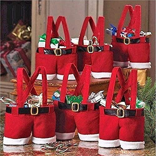 LYMHGHJ 6 Bolsas Pantalones de Papá Noel, Bonitas Bolsas de Regalo, Bolsas de Relleno para árboles de Almacenamiento, Adornos navideños, Bolsa de Navidad, Bolsa de Dulces para Bodas