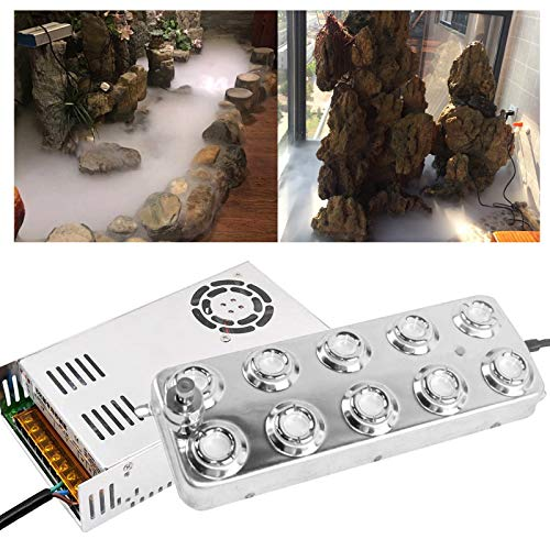 10 Kopf Ultraschall-Nebelmaschine ,Nebelmacher,Ultraschall Nebler,3,5-5L/H Nebelbefeuchter mit Transformator für Bühnenbeschlag Lebensmittelkonservierung Industrielle Gewächshaushydroponik Garten