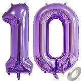 Jxuzh Globo de aire 10 ° cumpleaños Número púrpura Globos números 10 Globo gigante de papel de aluminio Globo de helio grandes 10 años gigantes XXL 40 pulgadas Globo para niñas Fiesta de niños 100CM