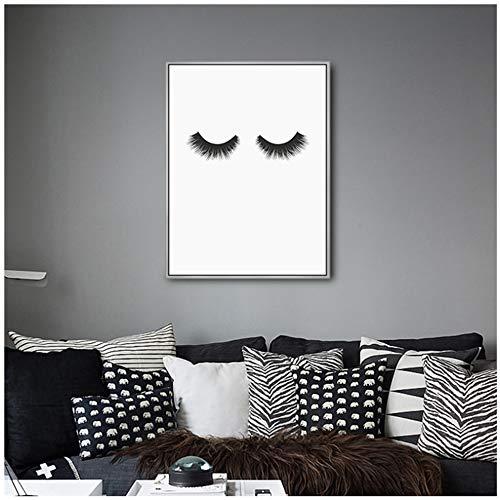 Canvas schilderijen Moderne wimpers Schoonheid Zwart-wit poster Scandinavische kunst aan de muur Foto's Slaapkamer Woondecoratie 50x70 cm / 19.7