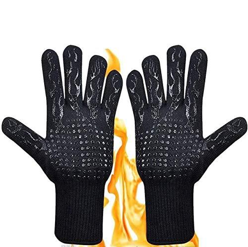 Guantes para Barbacoa, Alta Temperatura 500-800, Barbacoa a Prueba de Fuego, Aislamiento térmico, microondas, Cocina, Guantes para Hornear,Parrilla, Horno, Guantes, Guantes-Black Flame 1Pair