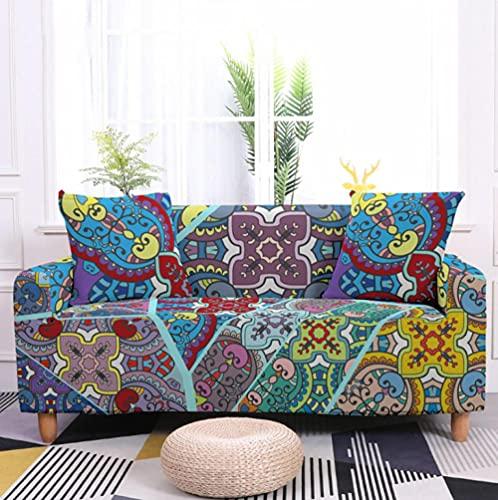 Fundas de sofá Estampadas Elástica,1 Plazas Antideslizante Ajustables Funda de Sofá,Universal Poliéster Protector Cubierta de Muebles,+2 Funda de Cojín,Graffiti de Color