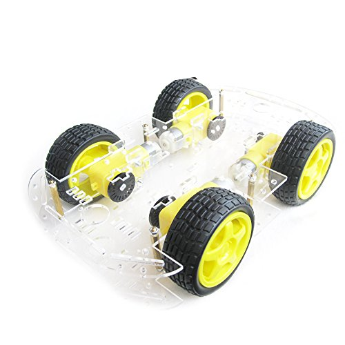 EMOZNY 4 Wheel 2 Layer Robot Smart Car Chassis Kits with Speed Encoder for Arduino DIY (Yellow)