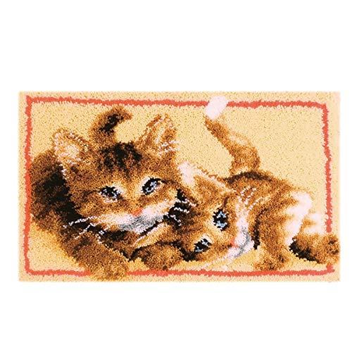 Myriad Choices Katze Knüpfteppich Kreuzstich Stickerei DIY Set 50x30cm Selber Machen Set Latch Hook Kit für Kinder und Erwachsene zum Selber Knüpfen(ZD-82)