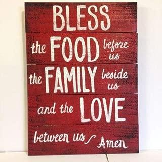 Diuangfoong Bless Food Before Us Family Beside Love Between Sign Prayer Pallet Wall Art
