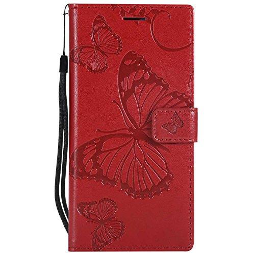 DENDICO Cover Huawei P20 PRO, Pelle Portafoglio Custodia per Huawei P20 PRO Custodia a Libro con Funzione di appoggio e Porta Carte di cRossoito - Rosso