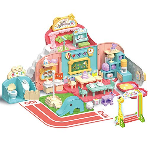 Girl Pretend Play Toys Set, Cute Backpack School Play House Toy, Simulation Kindergarten Scene Educational Toys, Best Gift for Preschool Children