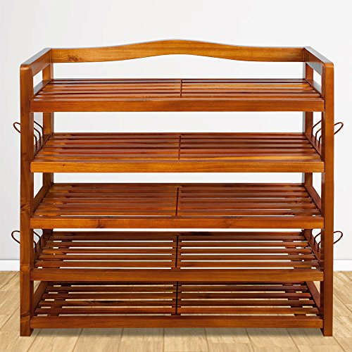 Deuba Schuhregal Schuhschrank Massiv Holz XXL 5 Etagen 82 x 95 x 26 cm Schuhbank Schuhablage Schuhständer Holzregal Flur
