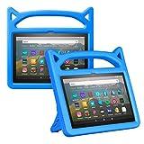Foluu Funda para Kindle Fire HD 8 y Fire HD 8 Plus (10ª generación, lanzamiento 2020), a prueba de golpes para niños con soporte para Kindle Fire HD 8 2020 (azul)