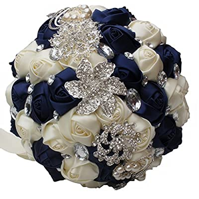 DOTKV Wedding Bouquet, Artificial Rose Posy with Satin Jeweled Throw Bouquet, Bridesmaid Holding Flowers,Wedding Bouquets Silk Flower, Wedding Memories Forever (Ivory+Blue)