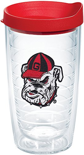 Tervis 1087762 Georgia Bulldogs Bulldog Head Uga Tumbler with Emblem and Red Lid 16oz, Clear
