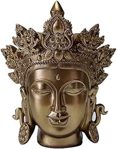 JeeKoudy Buddha-Kopf-Statue, Bronze-Finish Buddha-Statue, buddhistische meditierende Buddha-Figur, kleine Sakyamuni-Skulptur aus Harz Religiöser Geist Ornament Wohnkultur-Messing 20 x 15,5 x 12 cm (8