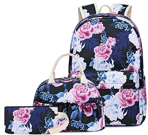 BLUBOON Teens Backpack Set Canvas Girls School Bags, Bookbags 3 in 1 (0047Floral Black)
