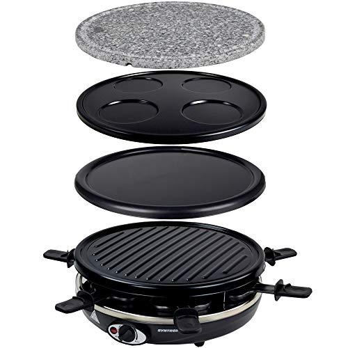 Syntrox Germany Basel 5 in 1 Raclette Crepemaker Grill Pancakemaker Natursteinplatte für 6 Personen
