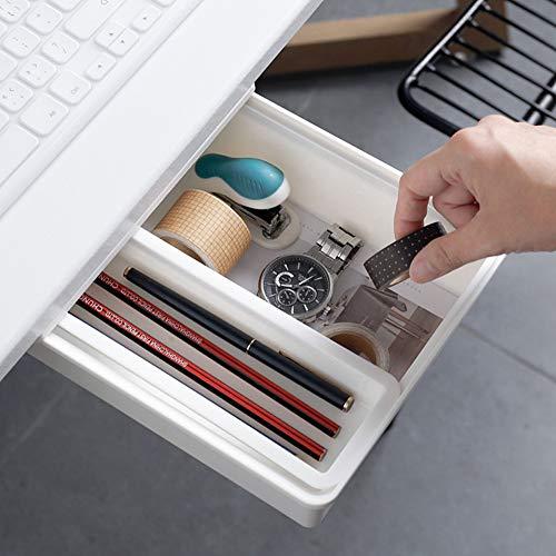 Honlibey Under Desk Drawer Self-Adhesive, Under Desk Pencil Drawer Tray, Under Desk Storage, Attachable Hidden Drawer Under Desk for Office School Home Kitchen (Medium Size)