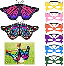 Coopay 9 Pieces Kids Butterfly Costume Fairy Butterfly Wings Masquerade Masks Christmas Halloween Girls Dress Up Pretend Play