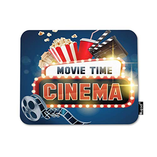 Mugod Cinema Movie Mouse Pad Popcorn Filmstrip Clapboard Ticket Movie Time Banner Shining Decor Gaming Mouse Pad Rectangle Non-Slip Rubber Mousepad for Computer Laptop 7.9x9.5 Inches