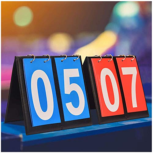 APORO Scoreboard Flipper 2 Digit Score Keeper,Portable Manual Flip Scoreboard Sports Score Board for ping Pong Basketball Volleyball Bocce, Coach & Referee Gear (1 Blue 1 Red)