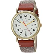 Timex Unisex TW2R42100 Weekender 38 Tan/Brown/Cream Fabric/Leather Strap Watch