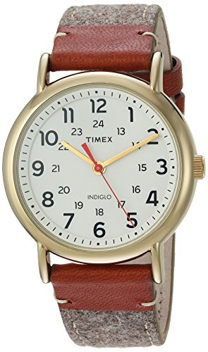 Timex Unisex TW2R42100 Weekender 38 Tan/Brown/Cream Fabric/Leather Strap Watch