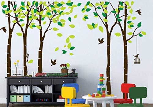 Birke Baum Wandtattoo Kinderzimmer Wald Baum Wandaufkleber Abnehmbare Tiere Zweige Wandkunst Kinderzimmer Schlafzimmer Wohnzimmer Wandsticker Dekoration (Brown,Green)
