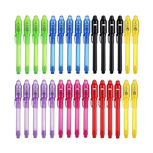 30 Piezas Bolígrafo de tinta invisible, DazSpirit Lápiz Espía con Rotulador Mágico de luz UV para Mensajes Secretos y Fiestas Detectives Favorece Actividades Divertidas
