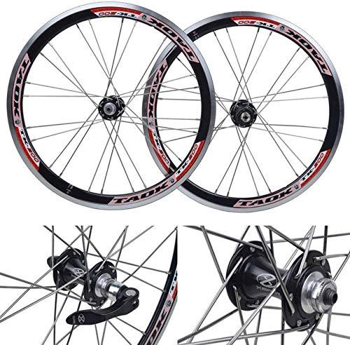Ruedas de ciclismo, juego de ruedas de bicicleta de 20 pulgadas, aleación de aluminio de doble pared, freno en V de liberación rápida, buje Palin de 24 orificios, 74 mm-130 mm, ruedas delanteras y tr