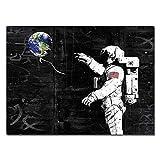 LiMengQi Astronauta límite del Espacio Pintura al óleo Pintura Homesick Planta del Espacio Graffiti Arte de la Calle Moderna Rocket Cita Arte de la Pared Decoración (No Frame)