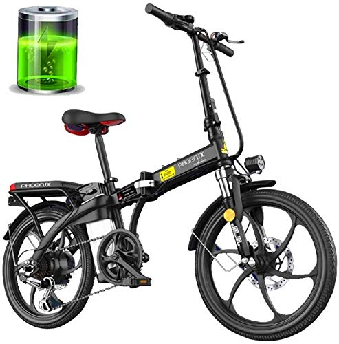 Fangfang Electric Bikes, 48V Folding Electric Bike 250W 20'' Electric Bicycle with Removable 8Ah/12Ah Lithium-Ion Battery - Seat Handlebar Height Can Be Adjusted,E-Bike (Color : Black, Size : 12Ah)