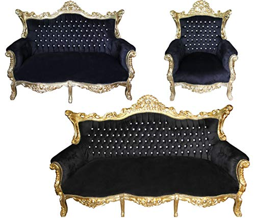 Casa Padrino Barock Wohnzimmer Set Master Schwarz/Gold mit Bling Bling Glitzersteinen - 3er Sofa+2er Sofa + 1 Sessel