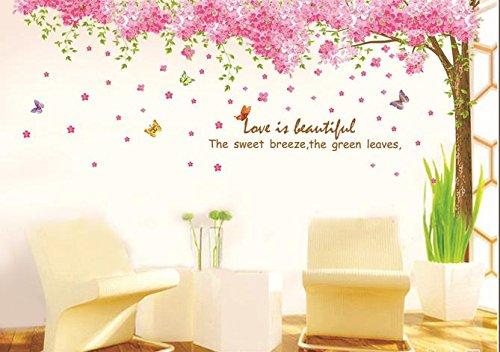 Rainbow Fox Grand Rosa Sakura Kirschblüte Baum Wandtattoo Sticker PVC abnehmbar Wand Klebebild für Mädchen und Jungen in Gärtnereien XY1096