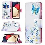 nancencen Kompatibel mit Nokia 3310 2017 Handyhülle, Dünnschaliges Lederetui Mit Kartenhalter Magnetverschluss, Vintage Gemalt Flip Cover Schutzhülle (Blue Butterfly)