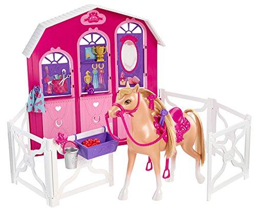 Mattel Barbie Y7554 - Barbie und ihre Schwestern im Pferdeglück, Pferd und Stall Spielset