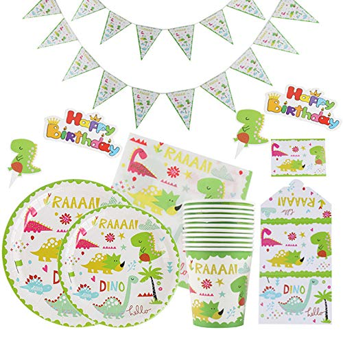 GODPAJ 110 piezas de vajilla desechable para fiesta de cumpleaños para niños sobre el tema de los dinosaurios, mantel de cartel de decoración para niños en el tema de las vacaciones para 12 personas